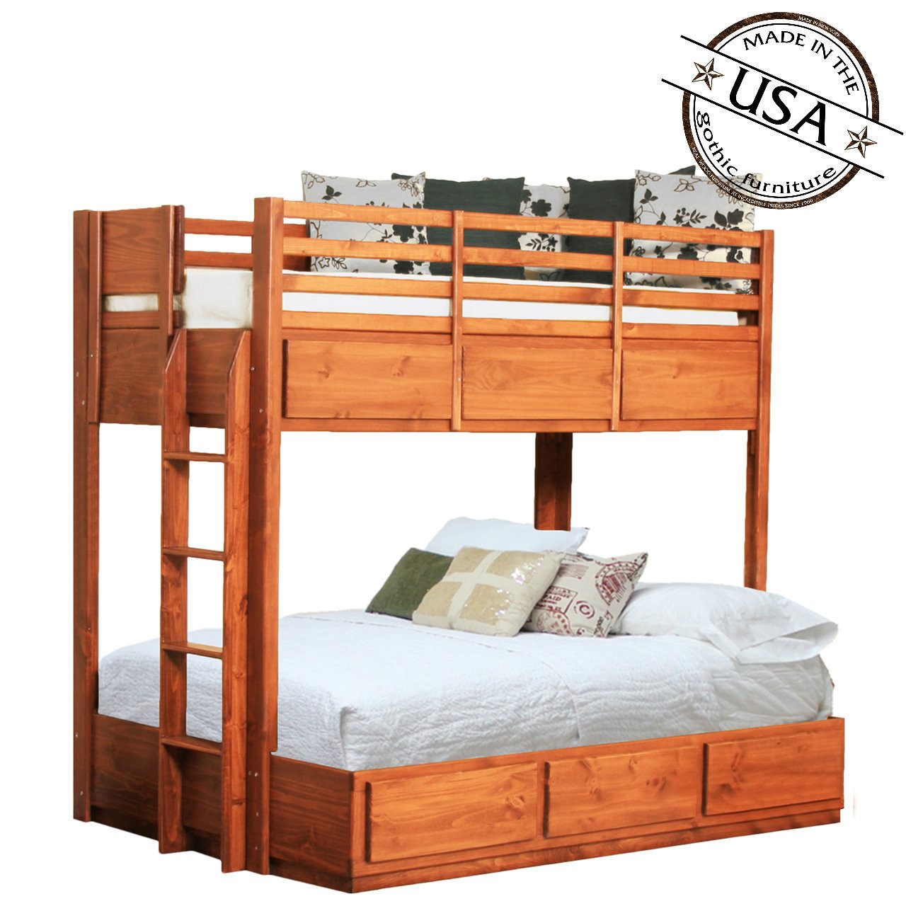 Picture of: Twin Over Full Bunk Bed W 6 Drawers Pine Gothic Furniture