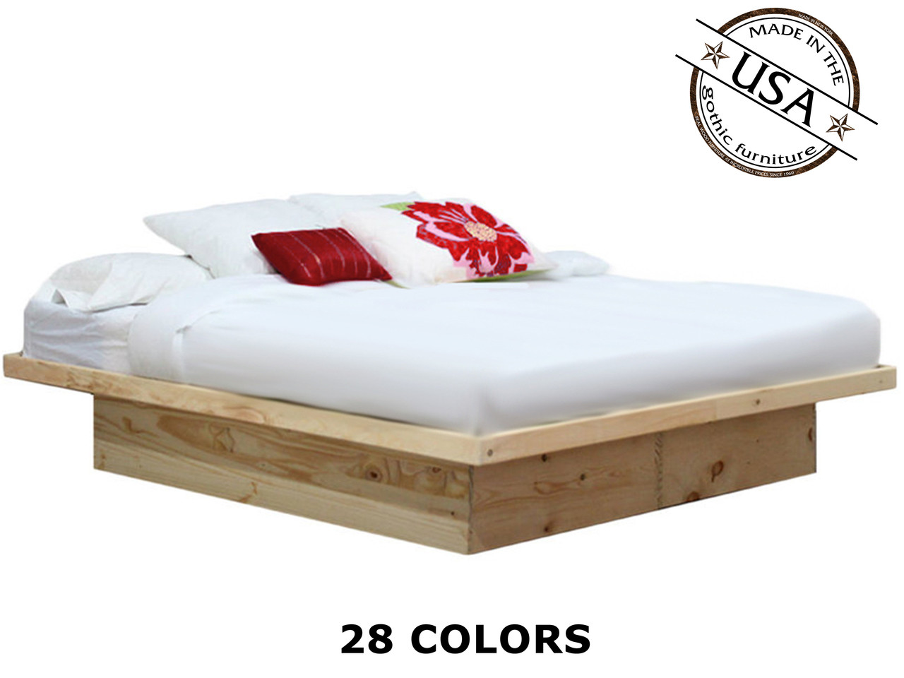 King Platform Bed Pine Wood Gothic Furniture