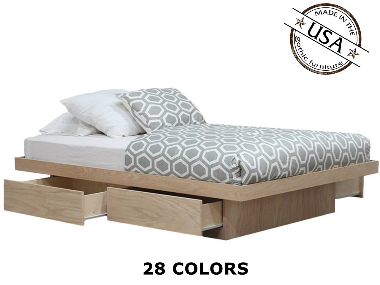 Queen Platform Bed With 4 Drawers On Tracks Oak Wood Gothic