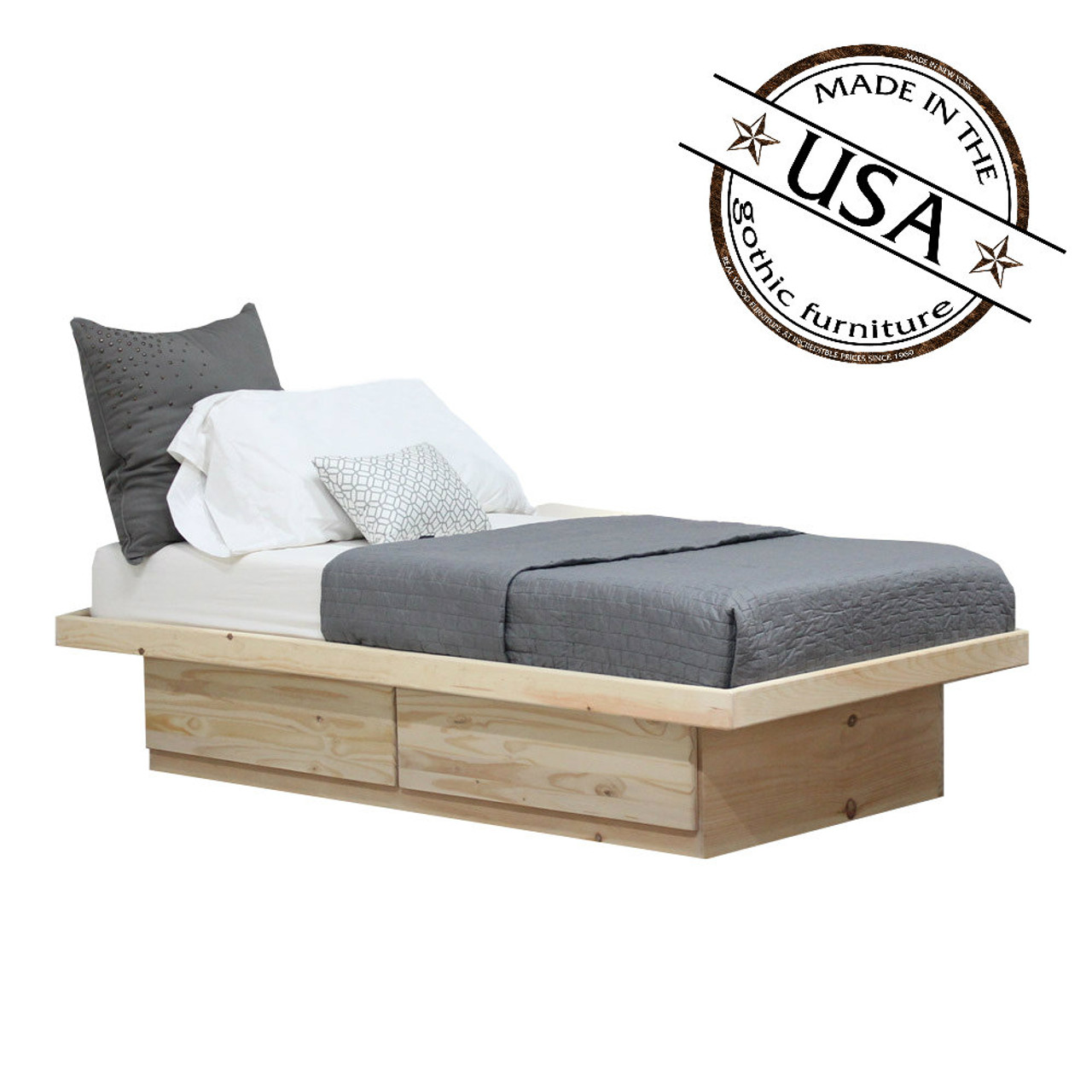 Twin Platform Bed 2 Drawers in Pine   Gothic Furniture