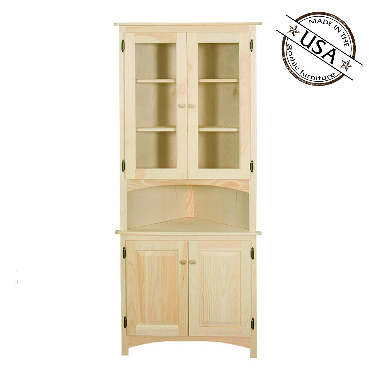 Corner Cabinet With Raised Panel And Glass Doors Gothic Furniture Gd