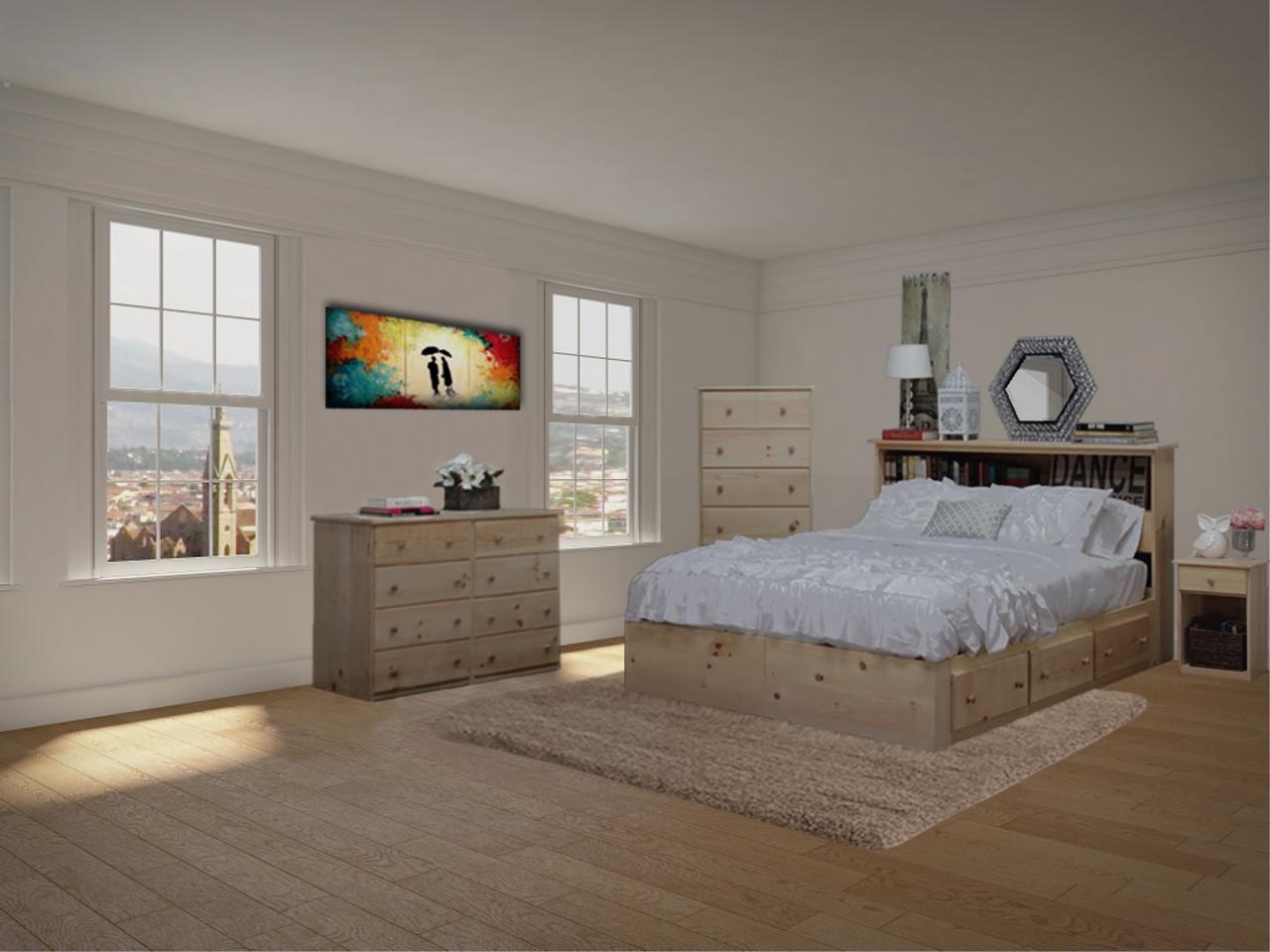Maspeth Twenty Drawer Queen Size Bedroom Set Pine Wood Gothic