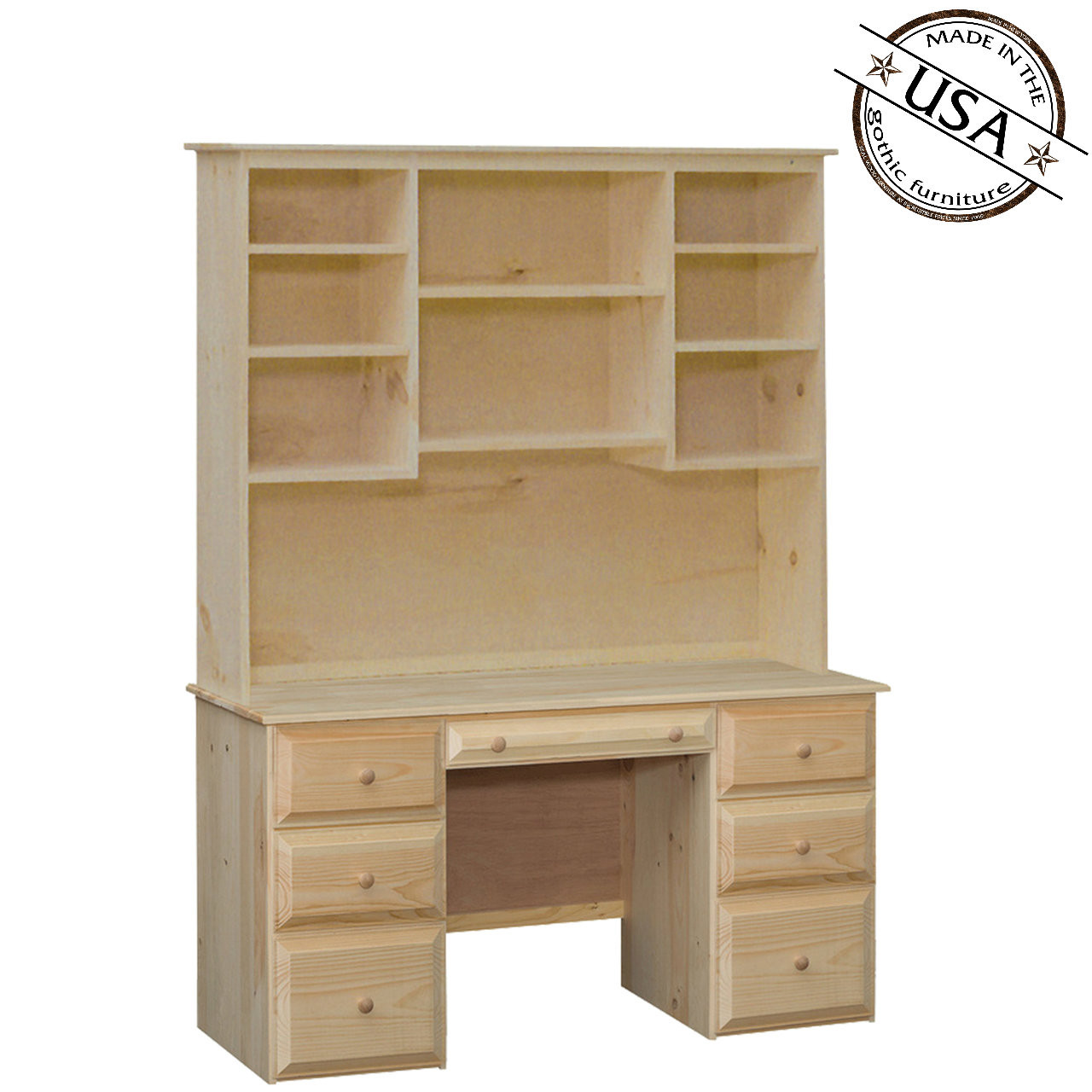 - Riverdale Seven Drawer Desk And Hutch Pine Wood Gothic