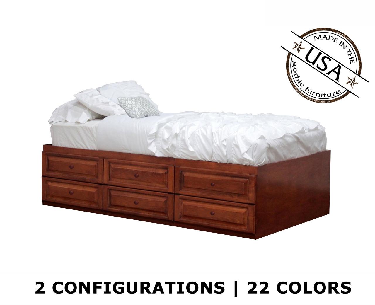 Twin Xl Raised Panel Storage Bed Birch Wood Gothic Furniture