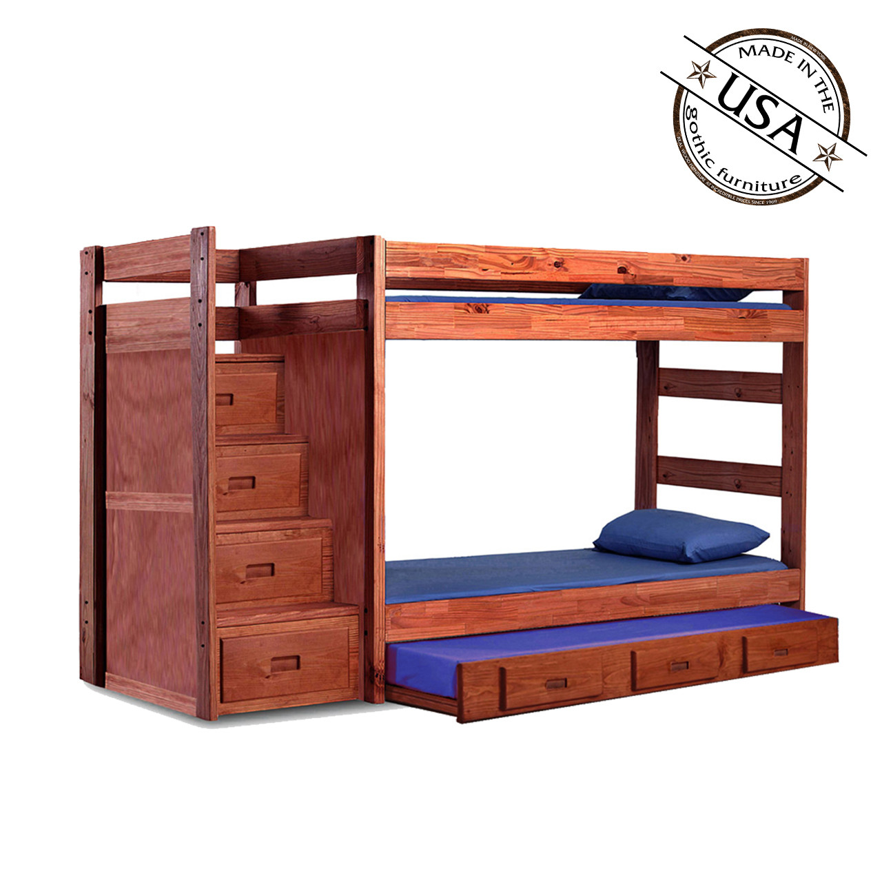 Twin Bunk Bed Reversible Storage Stairs Optional Trundle Bed Pine Crafter Furniture