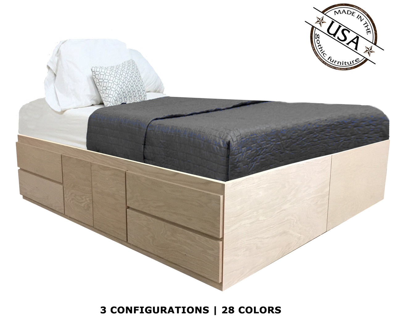 Incredible Queen Storage Bed Oak Wood Short Links Chair Design For Home Short Linksinfo