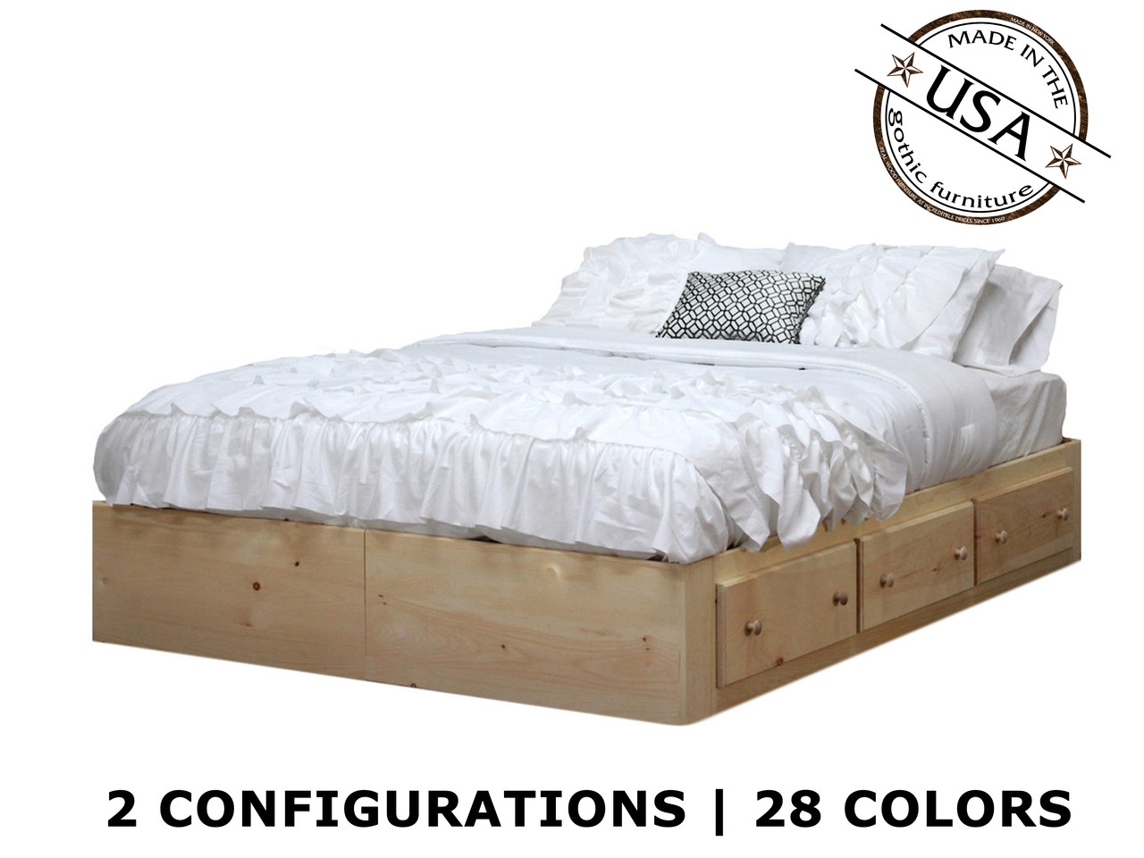 Full Captains Bed With 3 Or 6 Drawers On Tracks   Pine Wood