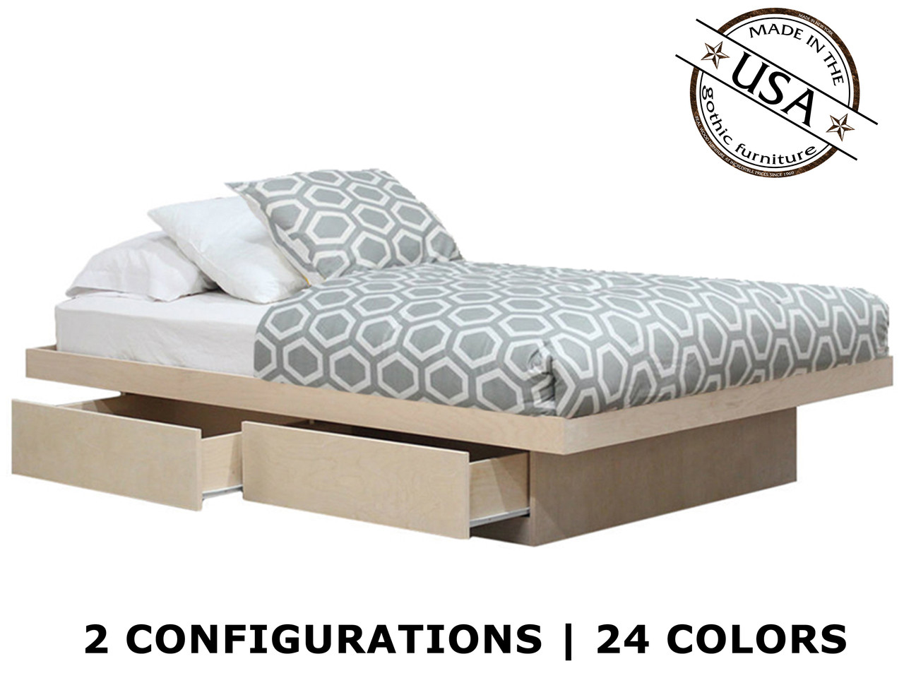 Full platform bed with 2 or 4 drawers on tracks birch wood