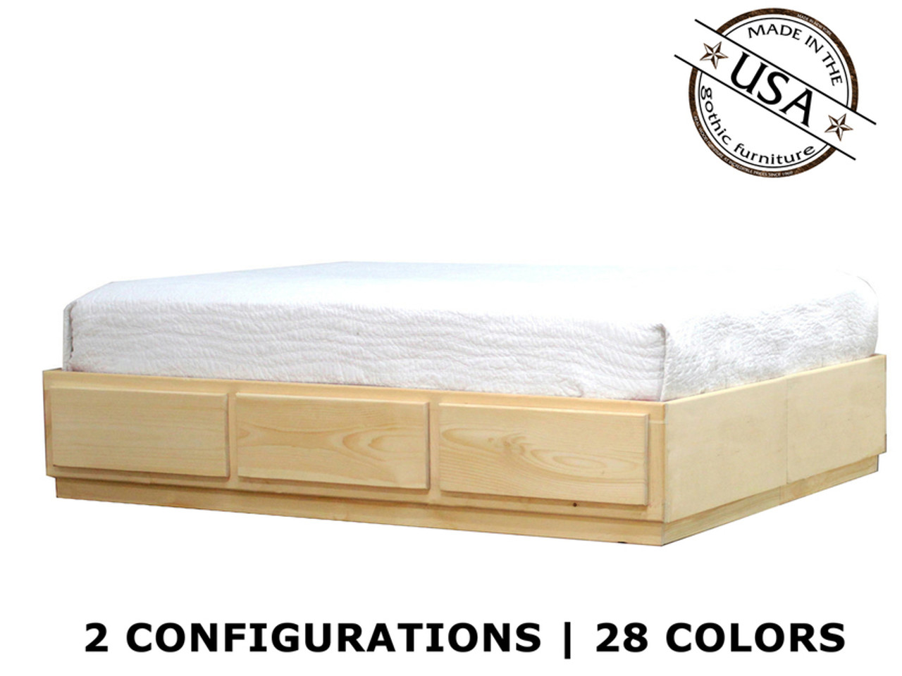 Queen Captains Bed 3 6 Drawers Pine Wood Gothic Furniture