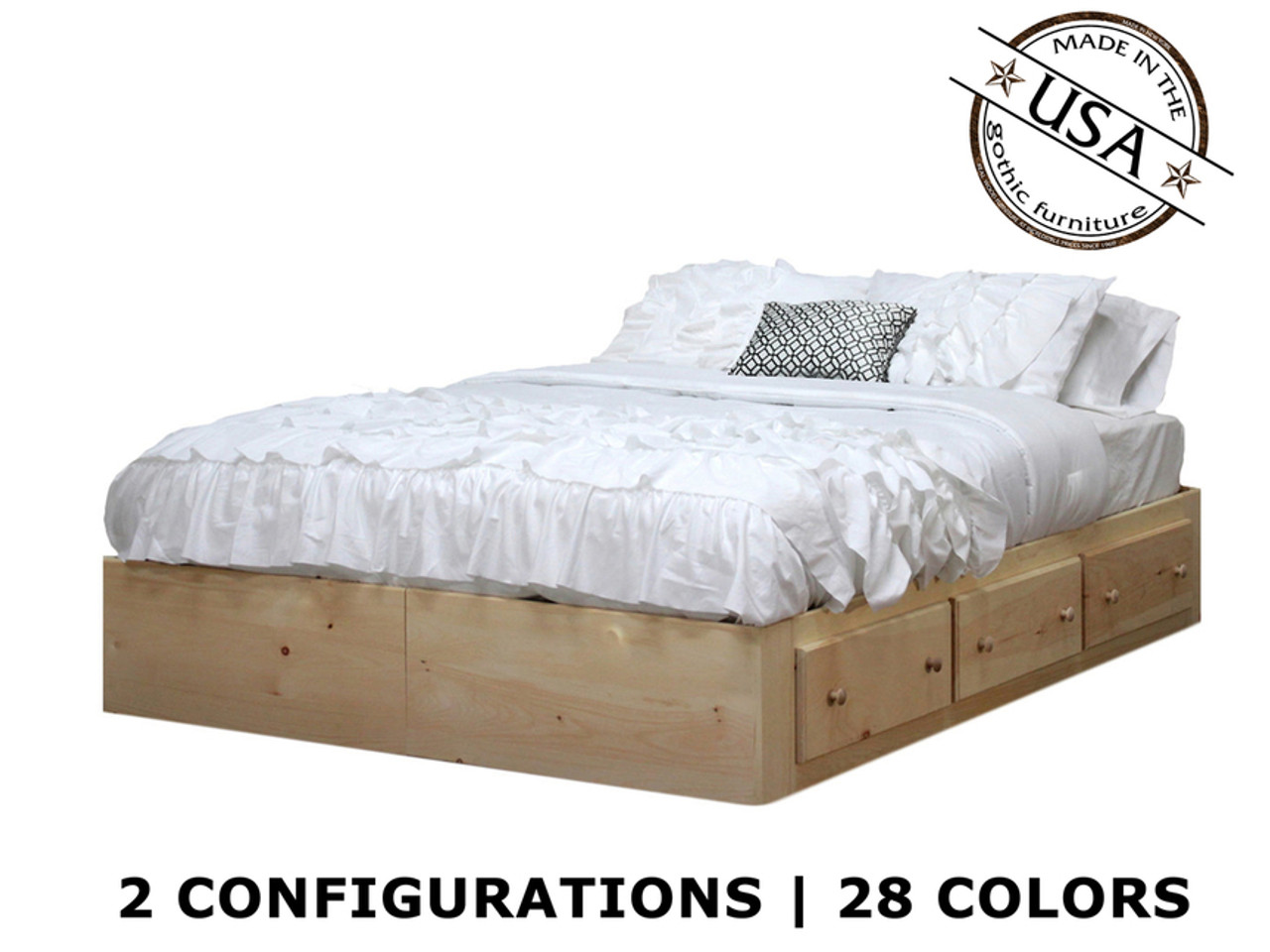 Queen Captains Bed With 3 Or 6 Drawers On Tracks Pine Wood Gothic Furniture Gv