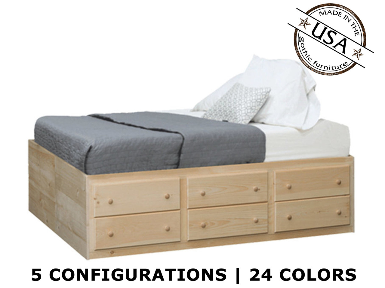 King storage bed pine wood