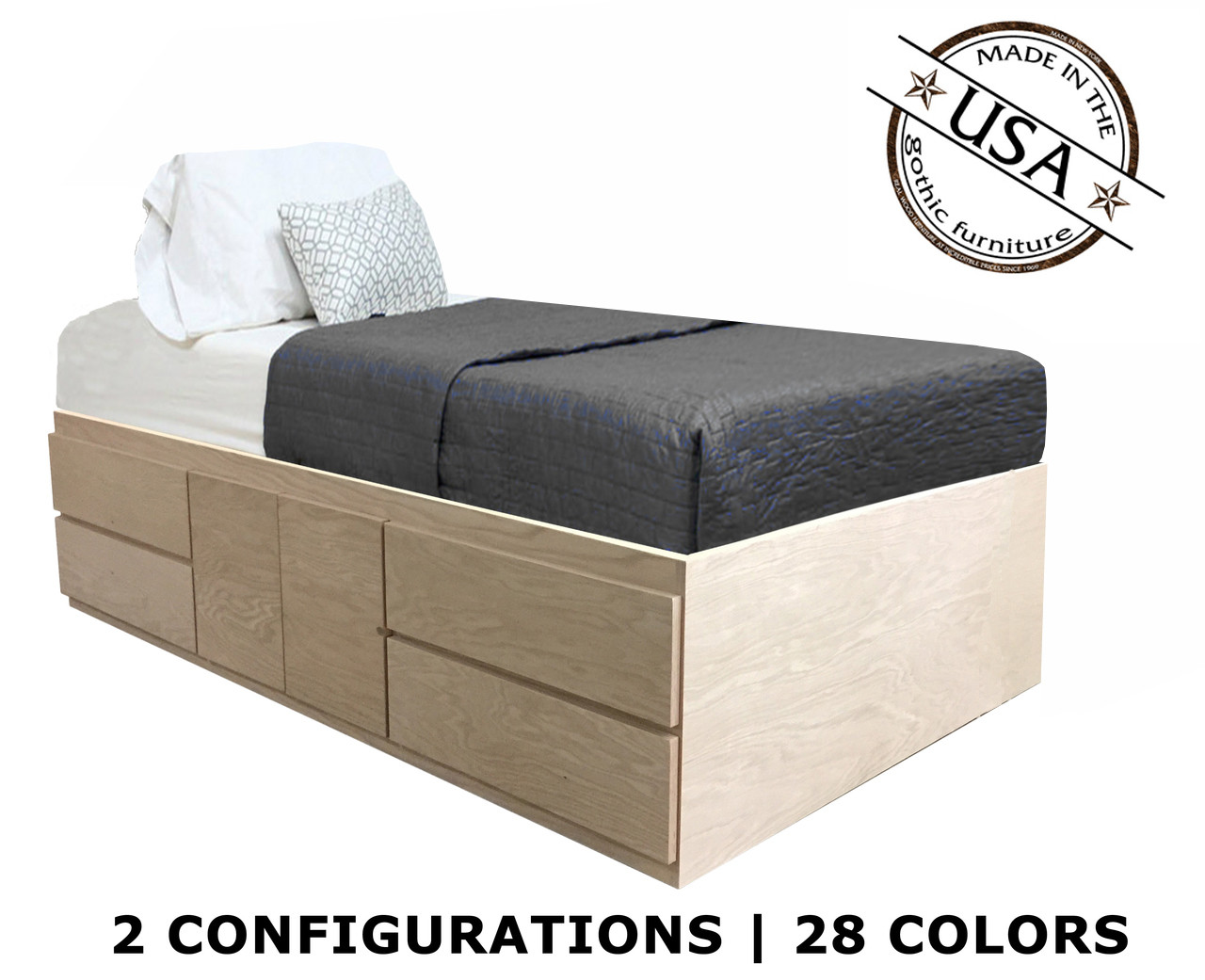 Picture of: Extra Long Twin Storage Bed Oak Wood Gothic Furniture