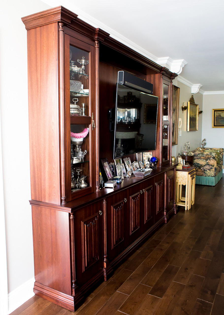 Superieur Custom   Entertainment Center With Columns And Rosettes