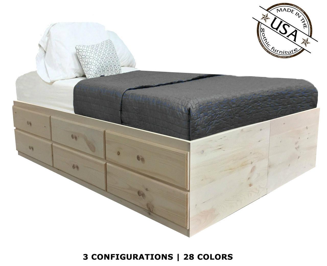 Queen Storage Bed Pine Wood Gothic Furniture