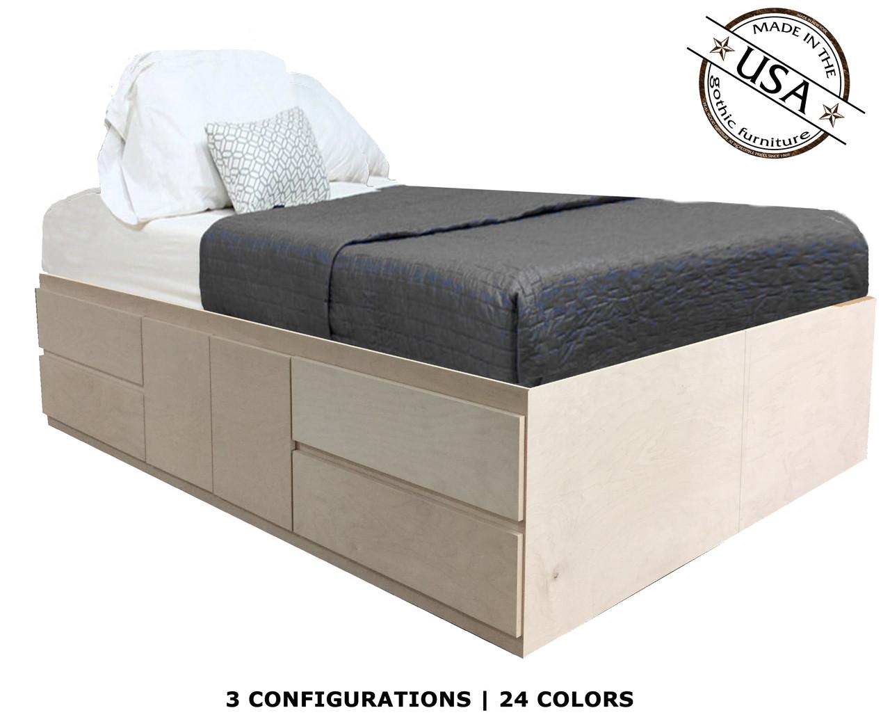Xl Full Storage Bed Birch Wood Gothic Furniture