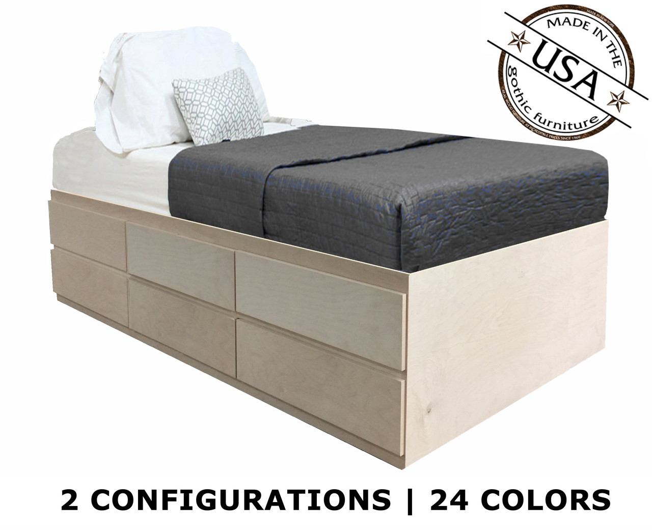 - Extra Long Twin Storage Bed Birch Wood Gothic Furniture