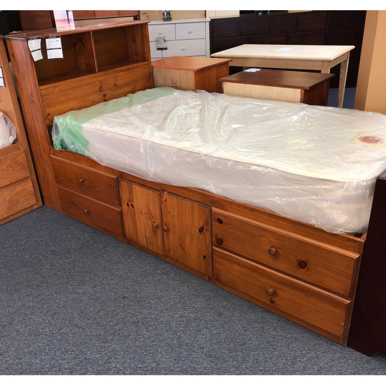 Twin Storage Bed And Headboard Floor Model