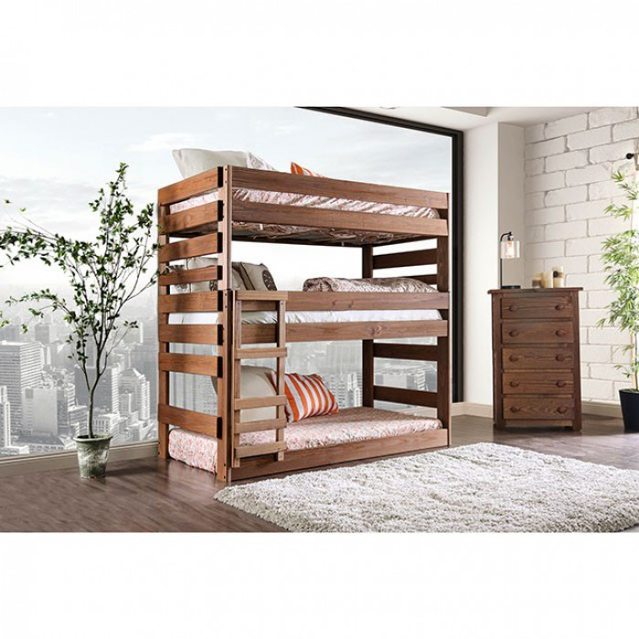 Picture of: Pollyanna Twin Triple Bunk Bed Furniture Of America