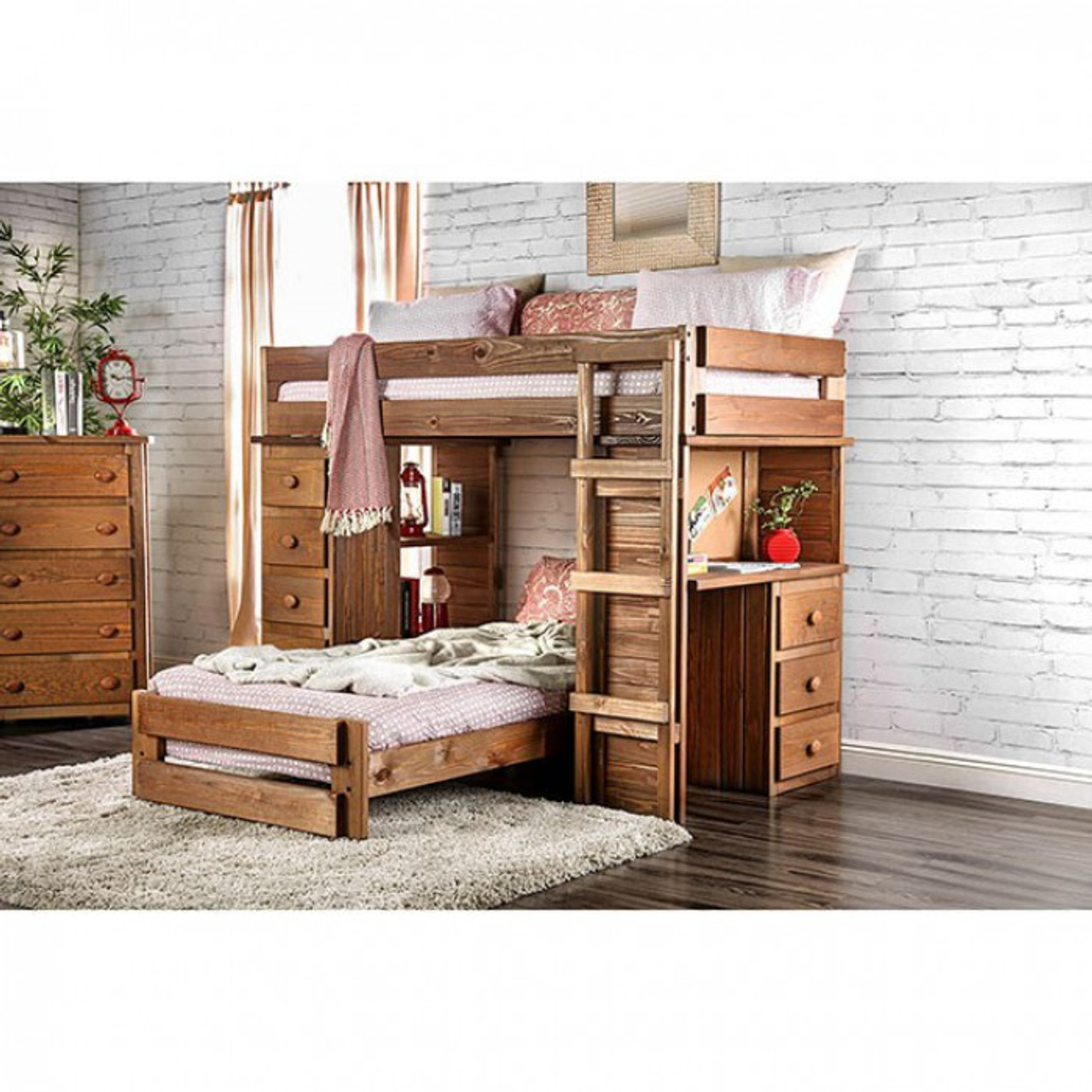 Picture of: Beckford Twin Loft Bed With Desk And Chest Furniture Of America