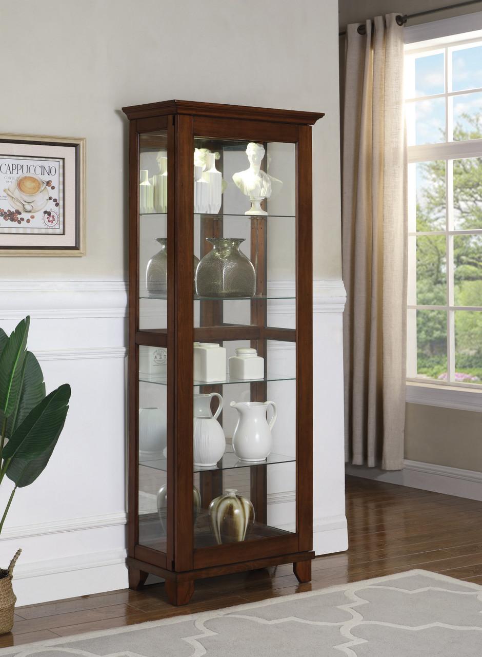 Chestnut Sliding Door Curio Cabinet Coaster Fine Furniture Sku 950188