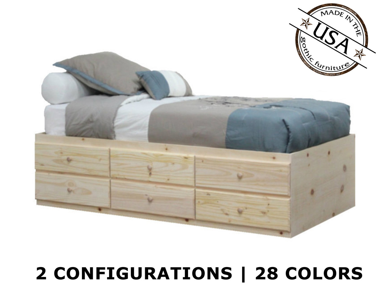 Twin Bed With Storage.Extra Long Twin Storage Bed Pine Wood