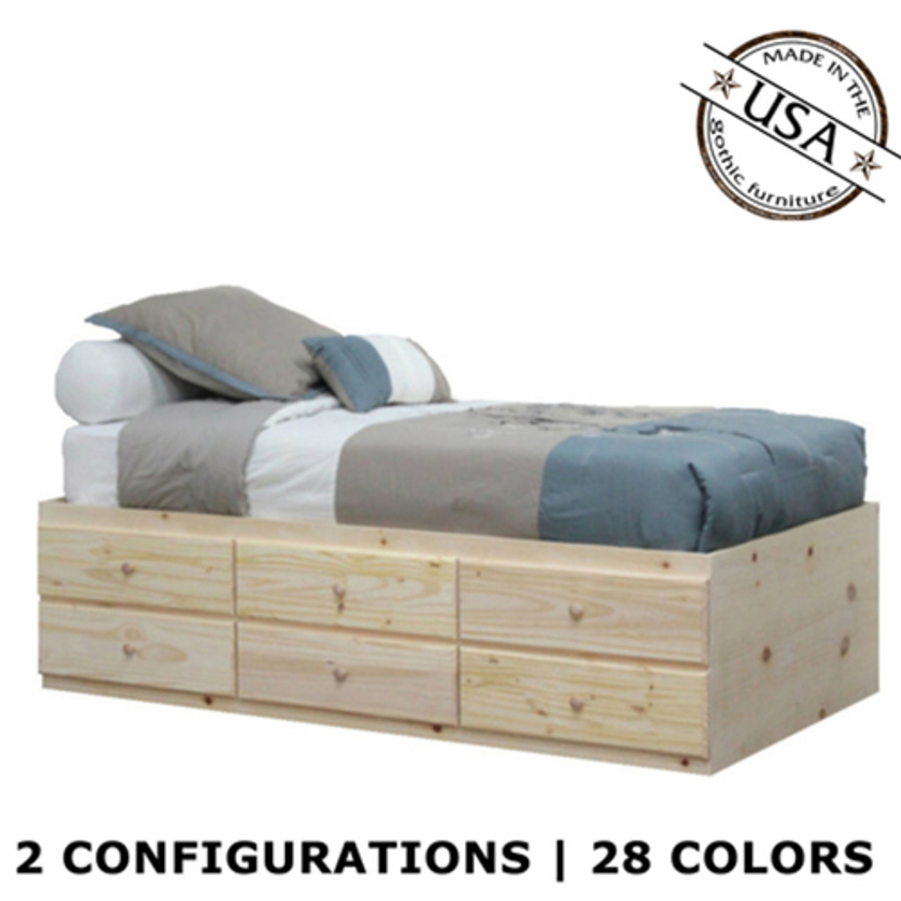 Extra Long Twin Storage Bed Pine Wood Gothic Furniture