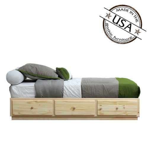 Twin Captains Bed 3 Drawers Tracks | Pine Wood