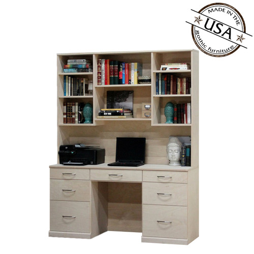 Flat Iron Desk and Hutch Set with 7 Drawers