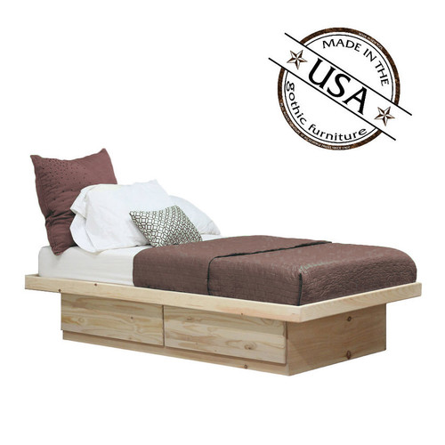 Twin Platform Bed 2 Drawers on Metal Tracks in Pine