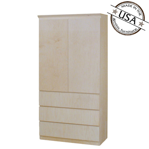Mid Century Modern Armoire with 2 Shelves