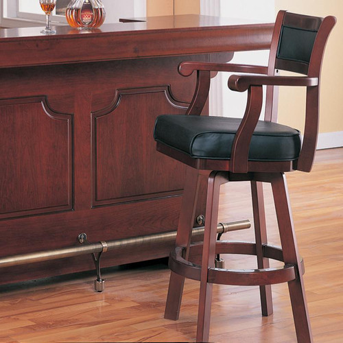 Traditional Bar Stool with Leather Back and Swivel Seat