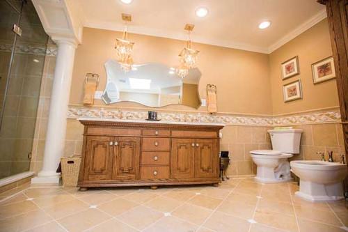 CUSTOM - Elegant Double Sink Bathroom Cabinets