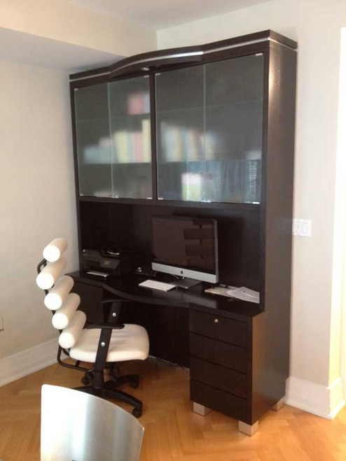 CUSTOM - Computer Desk and Hutch With Glass Doors