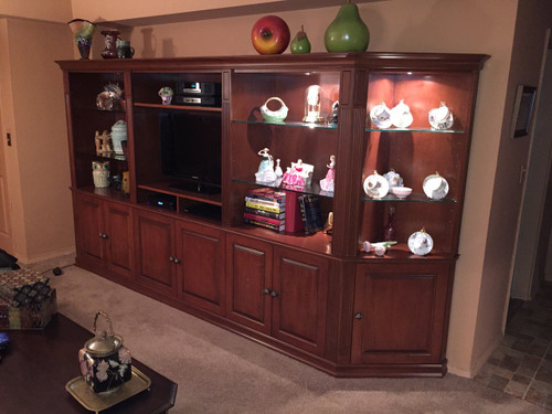 CUSTOM - Cherry Entertainment Wall Unit With Storage
