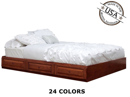 Full Raised Panel Captains Bed with 6 Drawers on tracks | Birch Wood