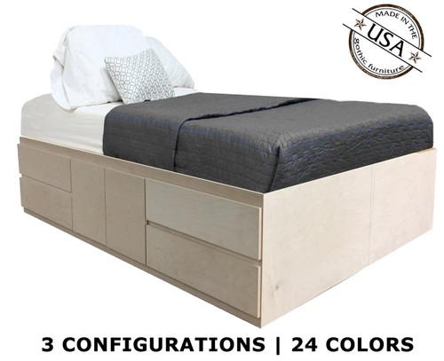 King Storage Bed   Birch Wood