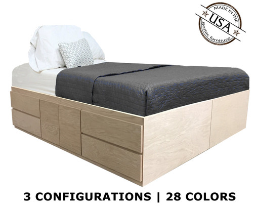 Queen Storage Bed | Oak Wood