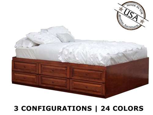 Full Raised Panel Storage Bed | Birch Wood