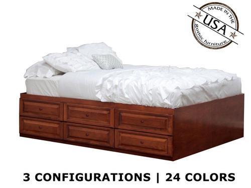 King Raised Panel Storage Bed | Birch Wood