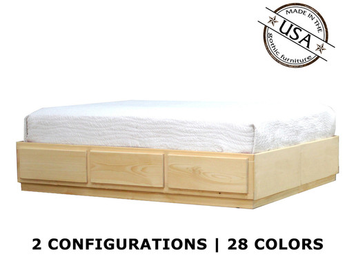 Queen Captains Bed 3 - 6 Drawers | Pine Wood