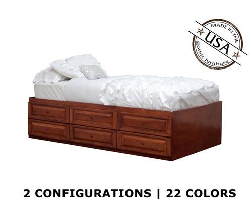 Twin Raised Panel Storage Bed | Birch Wood