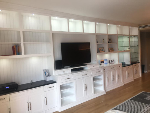 Custom - Built-in Wall Unit With White Satin Finish Lacquer