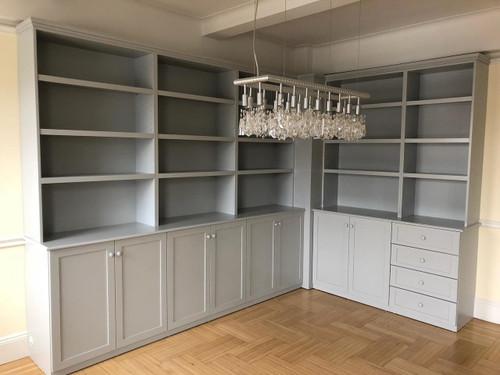 Custom - Dining Room Wall Unit - Gray Paint Finish