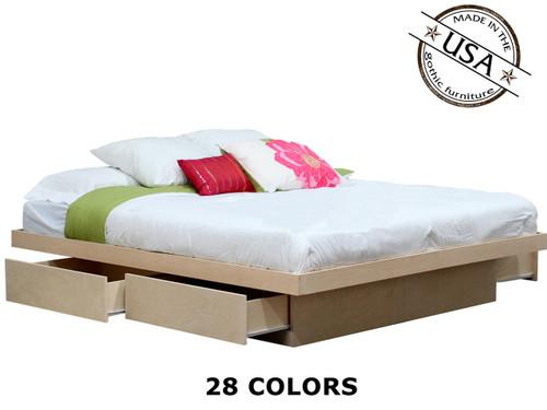 California King Platform Bed  | Birch Wood