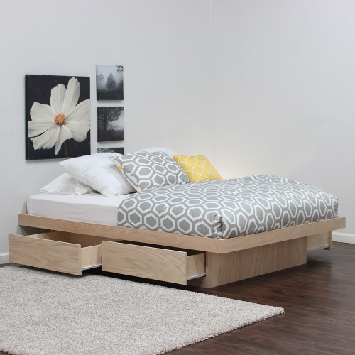 0238706fe37 ... Platform Bed With 4 Drawers Without Tracks (Shown In Oak)
