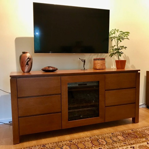 CUSTOM - Rift Oak TV Console w/ Framed Glass Door