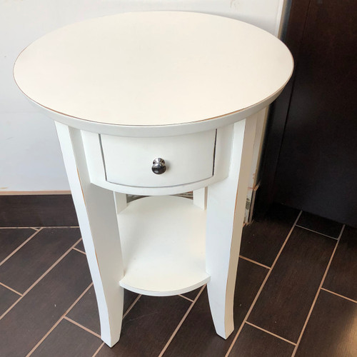 Set of 2 - White Round End Tables - Floor Model