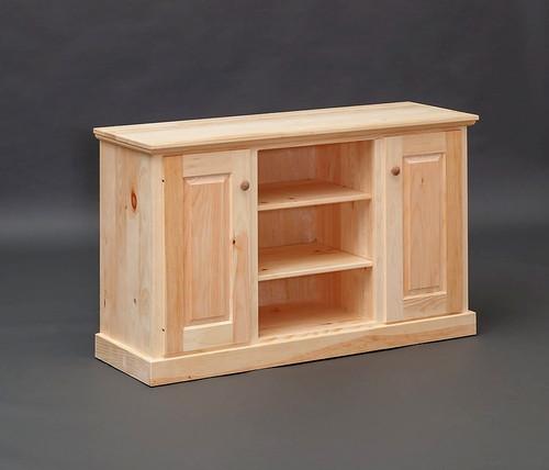 Pine Storage Cabinet w/ Center Shelves 17 x 50 x 30