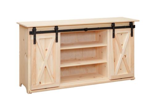 Pine Sliding Barn Door TV Stand 17 x 64 x 33