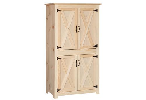 Pine Barn Door Pantry 20 x 39 x 69